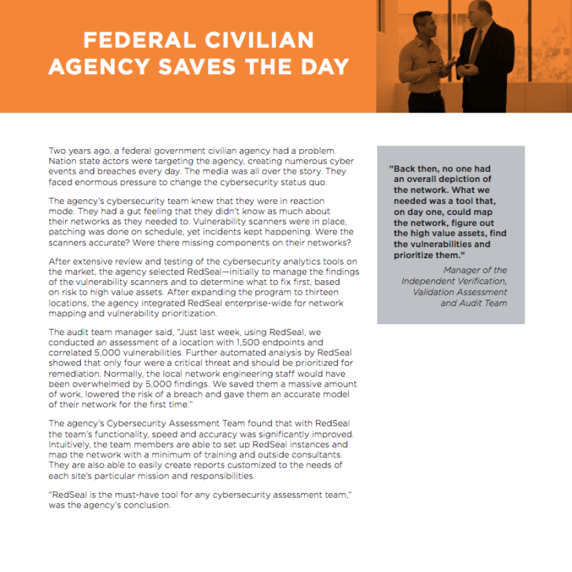FEDERAL CIVILIAN AGENCY SAVES THE DAY