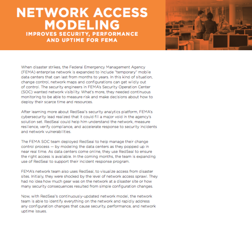 Customer Story FEMA: Modeling Network Access